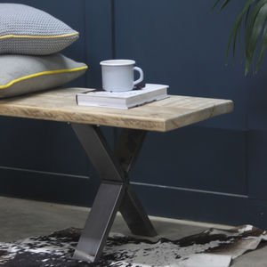 Xavier Reclaimed Wood Bench With Steel X Frame - furniture