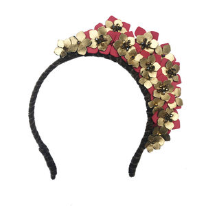 Crystal And Leather Flower Headdress