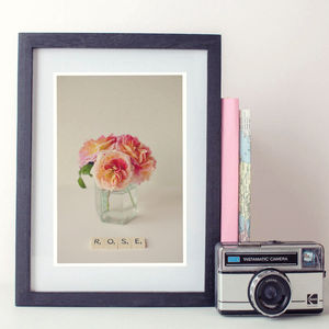 Rose Scrabble Art Vintage Fine Art Photographic Print