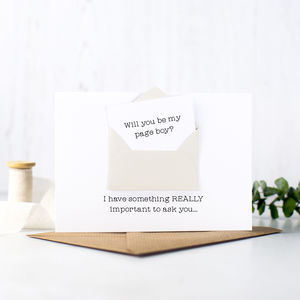 Secret Message 'Will You Be My Page Boy?' Card - wedding cards & wrap