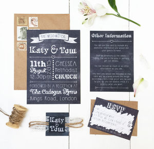 Chalkboard And Lace Wedding Invitation Set - invitations