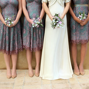 Bespoke Lace Bridesmaids Dresses In Pink And Aqua