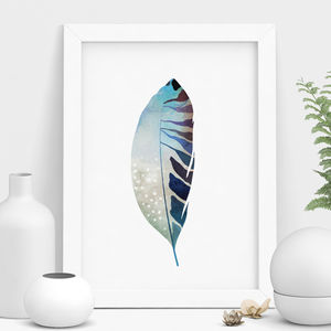 Blue Watercolour Illustration Feather Print - still life