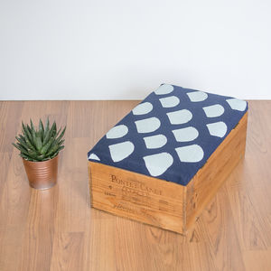 Reclaimed Wine Crate Ottoman With Geometric Print