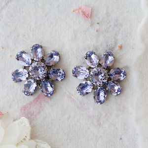 Audrey Chunky Purple Flower Stud Earrings - earrings
