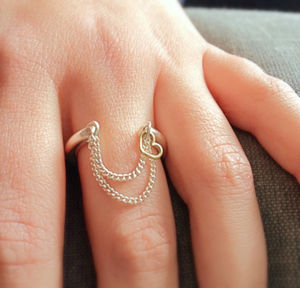Personalised Charm Ring With Chain