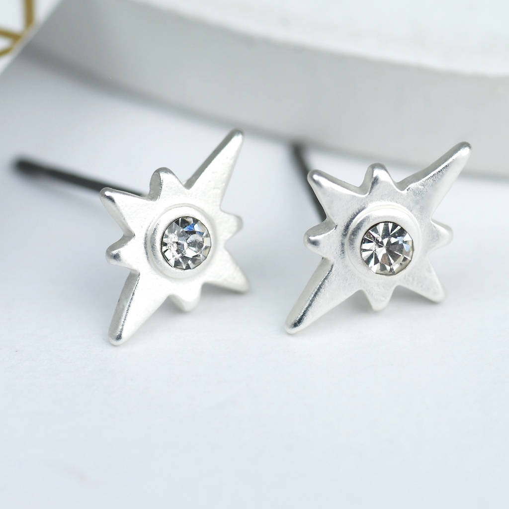 5e7dace910ade Silver Or Gold Sparkle Star Stud Earrings
