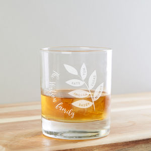 Family Tree Whiskey Glass - gifts for fathers