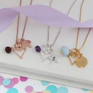 Personalised Childs Heart Necklace With Birthstones - march birthstone