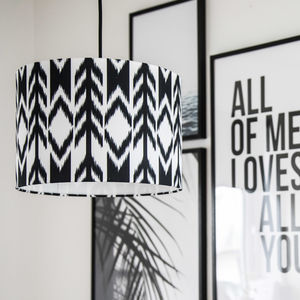 Black And White Boho Arrow Ikat Drum Lampshade