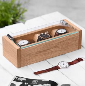 Personalised Etched Glass Solid Oak Watch Box - storage & organisers