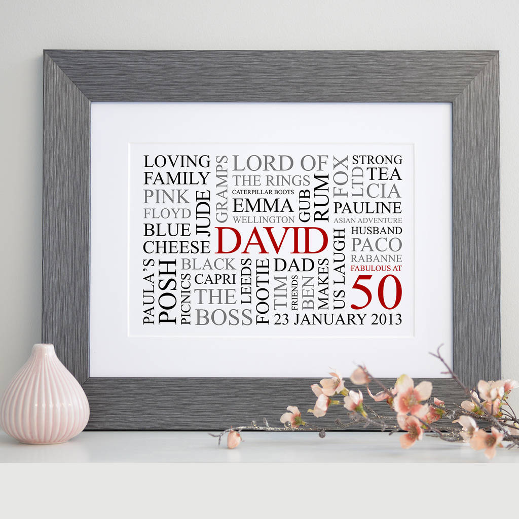 personalised 50th birthday word art print by cherry pete ...