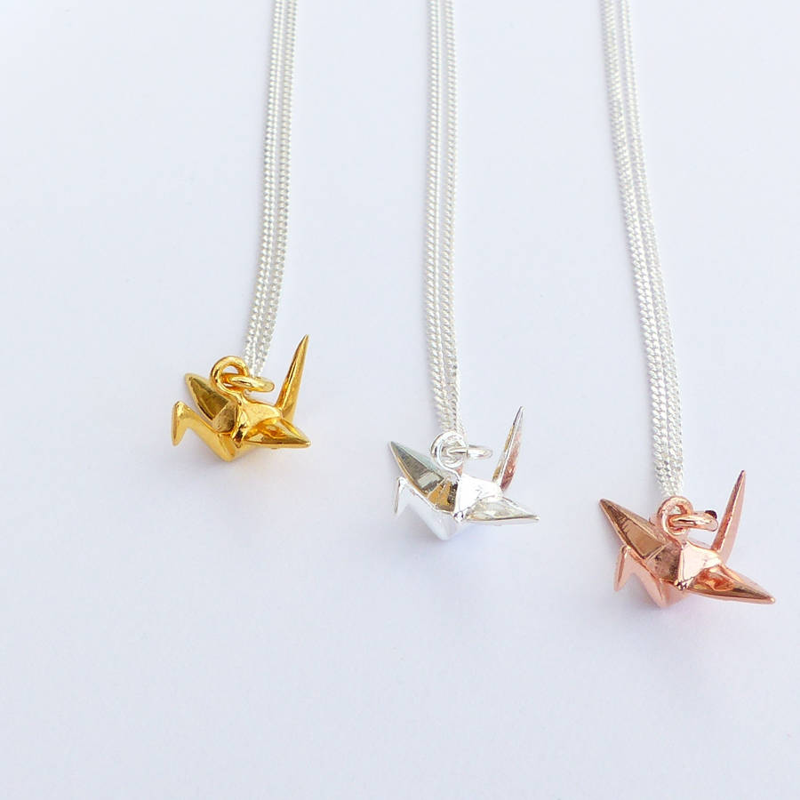 Sterling silver origami crane necklace by evy designs sterling silver origami crane necklace aloadofball Images