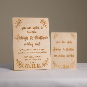 Wooden Wedding Invitation And Save The Date Cards