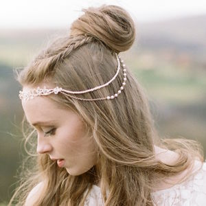 Florrie Draped Back Beaded Headband - bridal hairpieces