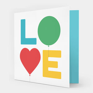 Love Balloons Greetings Card Multicoloured
