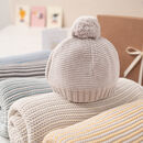 Cosy Mini Stripe Blanket And Bobble Hat Gift Set