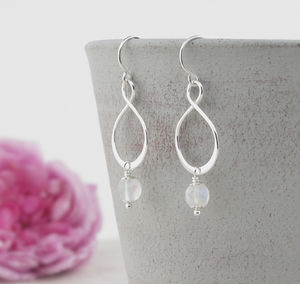 Aida Rainbow Moonstone And Silver Earrings - earrings