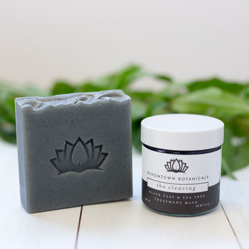 Black Clay Face Mask And Tea Tree Soap Bar Set