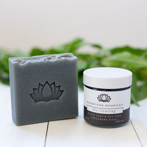 Black Clay Face Mask And Tea Tree Soap Bar Set - stocking fillers