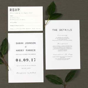 Modern Monochrome Wedding Invitation - invitations