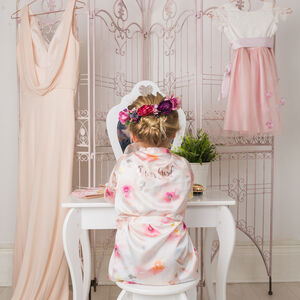 Floral Flower Girl Robe Gown Pink Watercolour