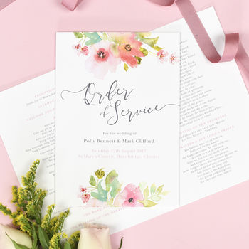 Juliette Watercolour Floral Wedding Order Of Service