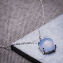 Blue Chalcedony And Sterling Silver Plated Necklace