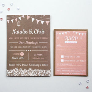 Blush Bunting Wedding Invitations - wedding stationery