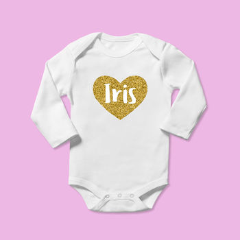 Personalised Gold Heart Baby Name Baby Grow
