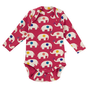 Unisex Organic Cotton Red Elephant Baby Bodysuit
