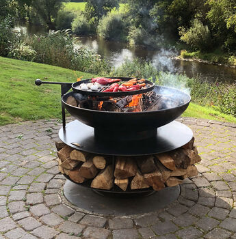 Ring Of Logs With Swing Arm BBQ Rack Steel Firepit