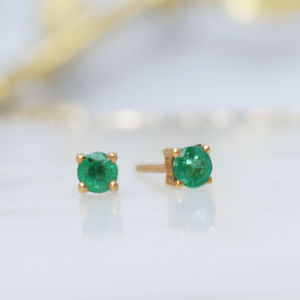 Delicate Emerald Stud Earrings