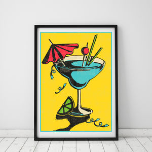 Vibrant Cocktail Retro Print - food & drink prints