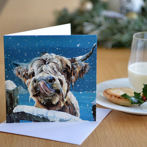Snowy Cow Christmas Card