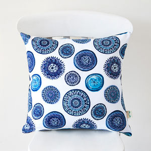 Blue And White Porto Plates Cushion Cover