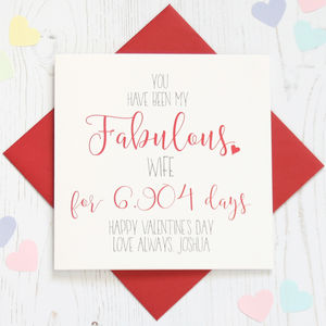 Personalised 'Fabulous' No' Of Days Valentine Card - cards & invitations