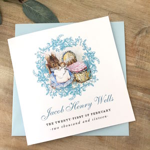 Beatrix Potter New Baby Or Christening Card Blue