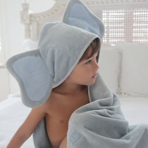 Personalised Grey And Blue Elephant Hooded Towel