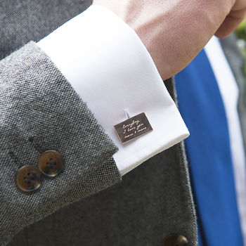 Personalised Rose Gold Message Cufflinks