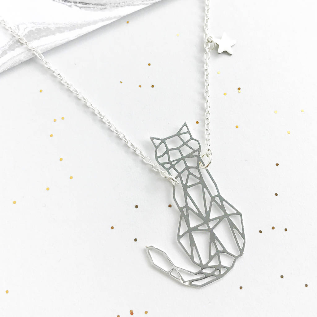 Personalised Origami Cat Necklace