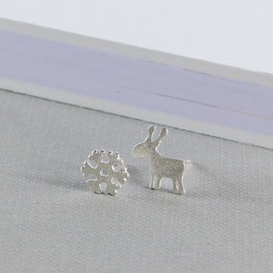 Reindeer And Snowflake Sterling Silver Earrings