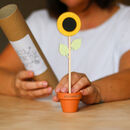 Wooden Flower Stem With Personalised Terracotta Pot