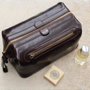 Personalised Men's Leather Wash Bag. 'The Duno L'