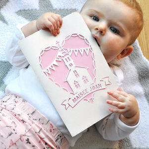 With Love, Christening Paper Cut Card - christening cards