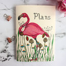 Personalised Flamingo In A Meadow Notebook