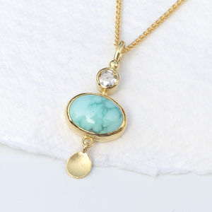 Turquoise And Diamond Pendant In 18ct Gold - necklaces & pendants