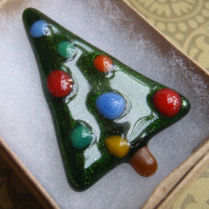 Handmade Glass Christmas Tree Brooch - christmas entertaining