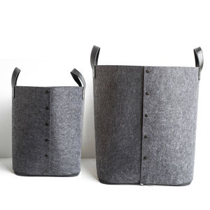 Grey Button Up Felt Storage Bag - scandi home decor