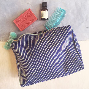 Wash Bag, Blue Block Printed, Ethically Made - view all new